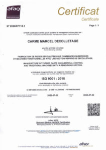 Décolletage certification ISO 9001